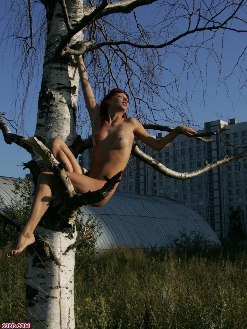 嫩模艾拉Ira坐在树枝上的撩人美体